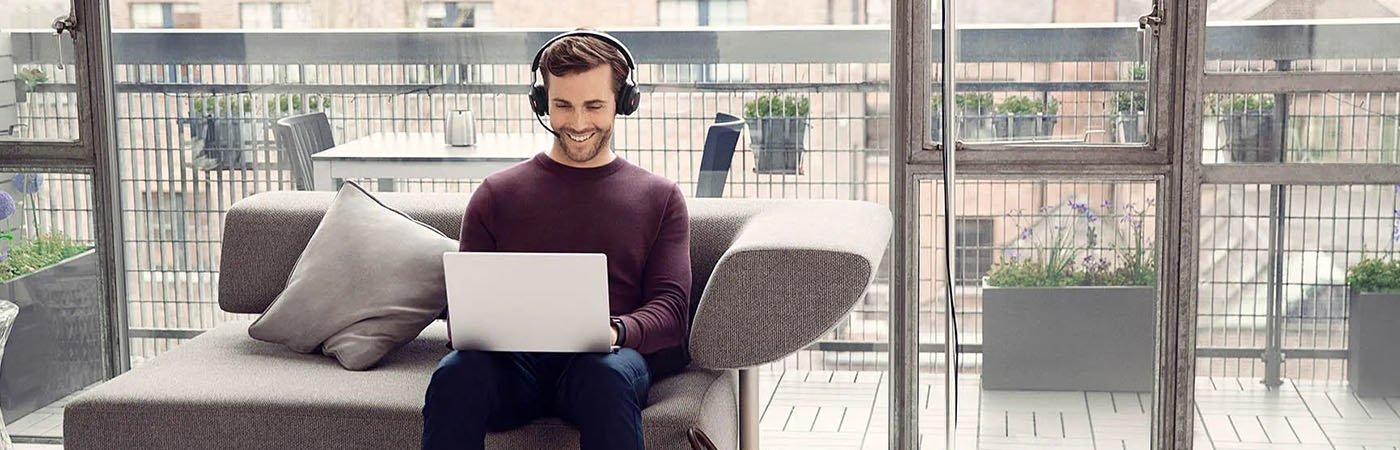 Man using a headset for working from home