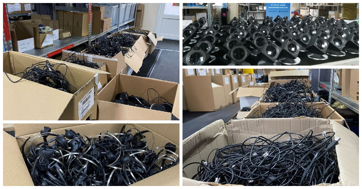 collage image of boxes of headsets and wires in the headset repair centre